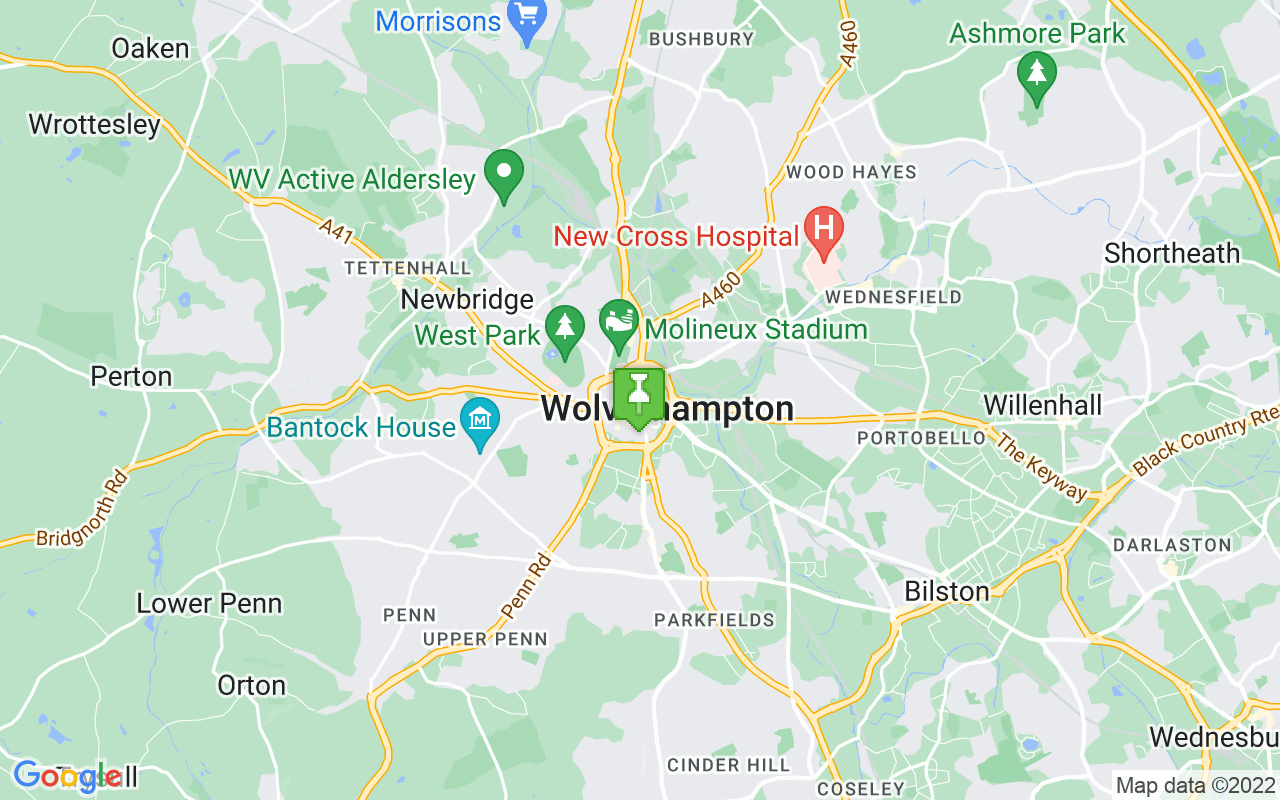Map showing location of where Wolverhampton prayer times calculated