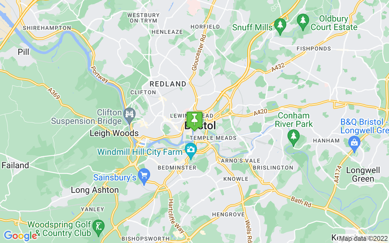Map showing location of where Bristol prayer times calculated