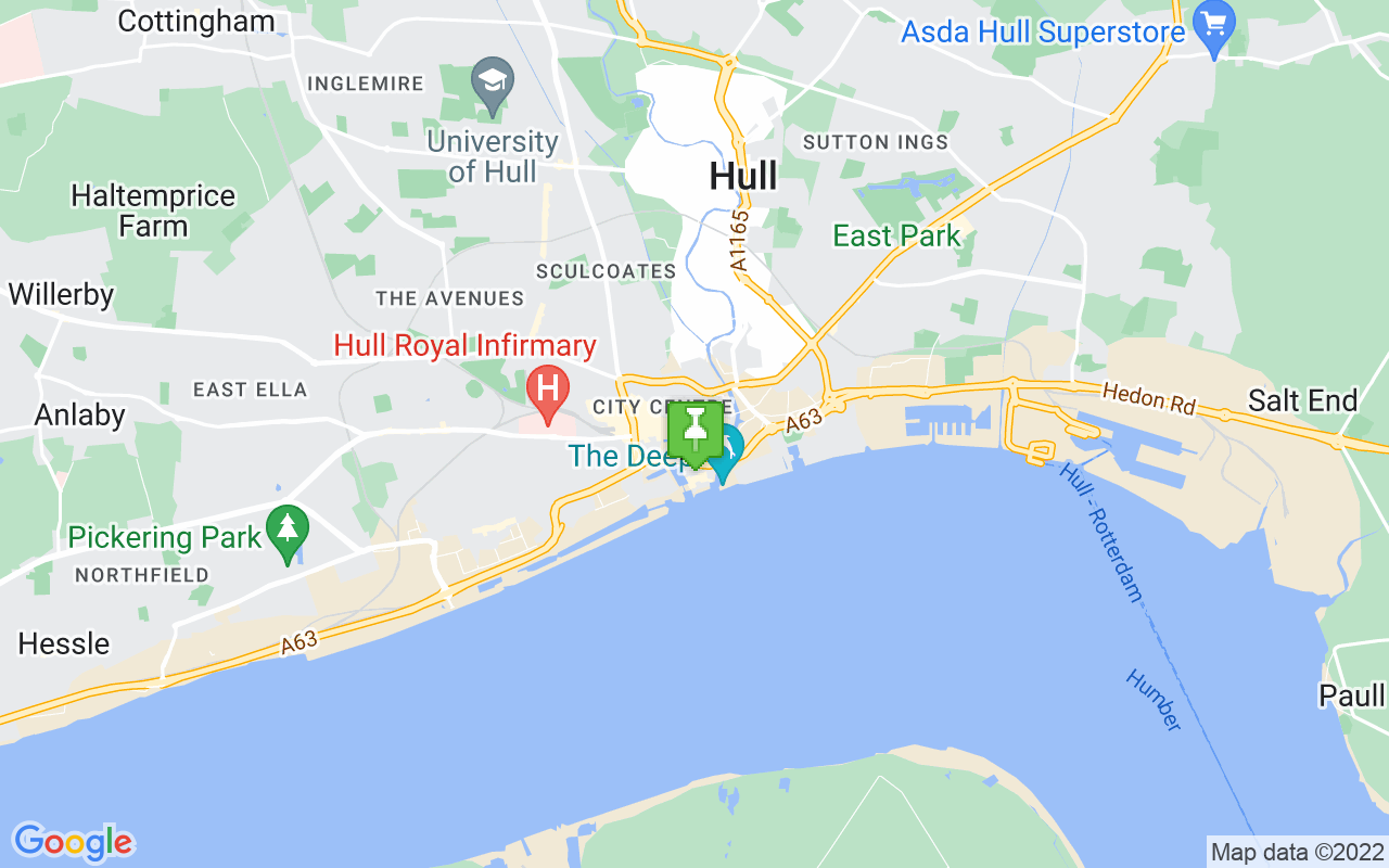 Map showing location of Hull