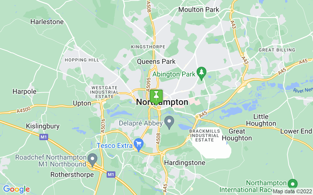 Map showing location of where Northampton prayer times calculated
