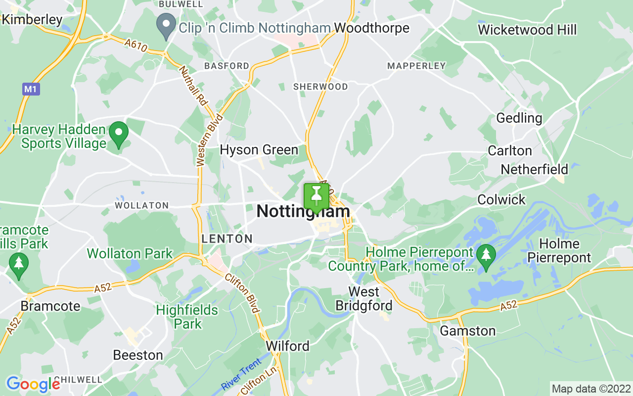 Map showing location of where Nottingham prayer times calculated