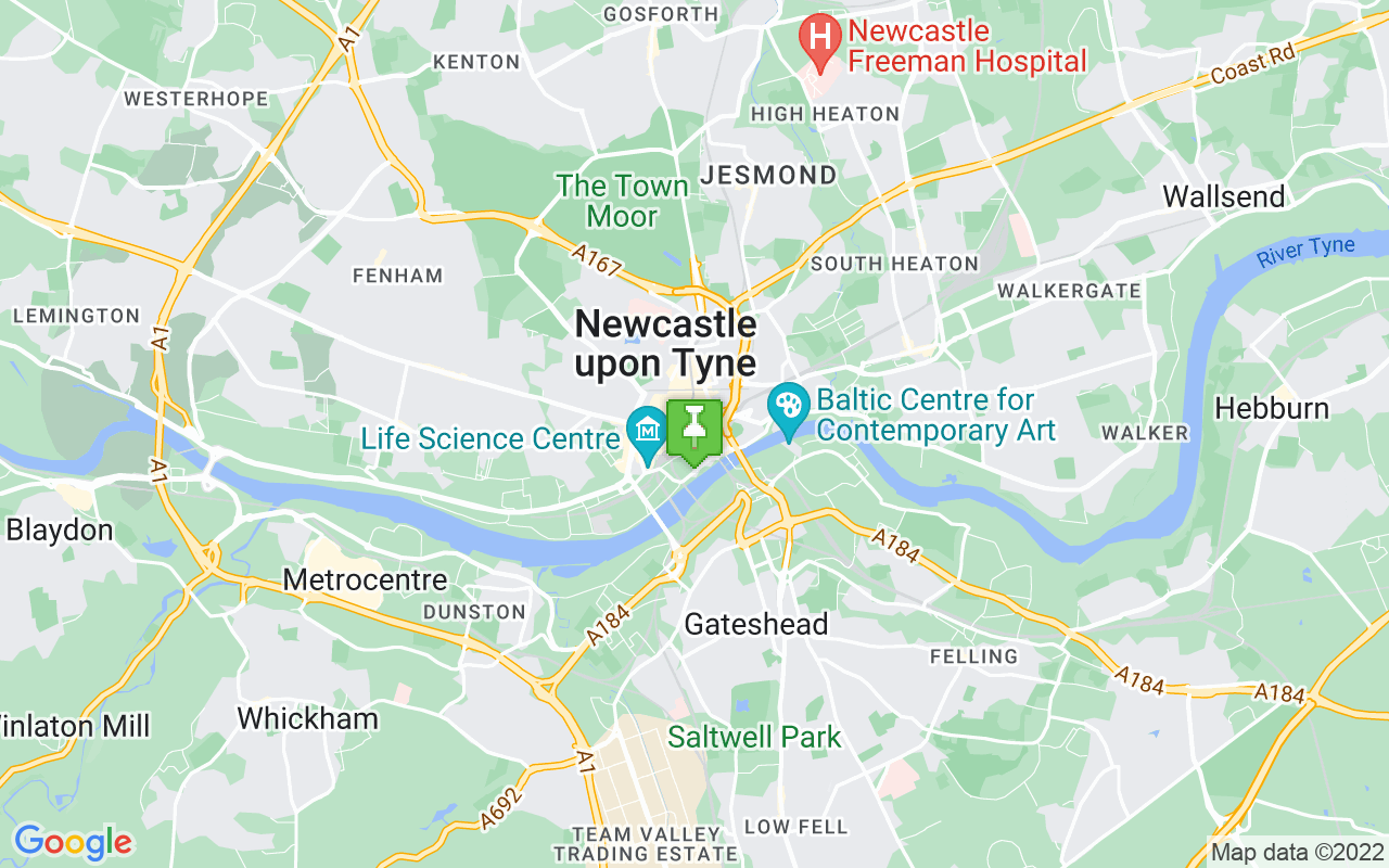 Map showing location of where Newcastle prayer times calculated