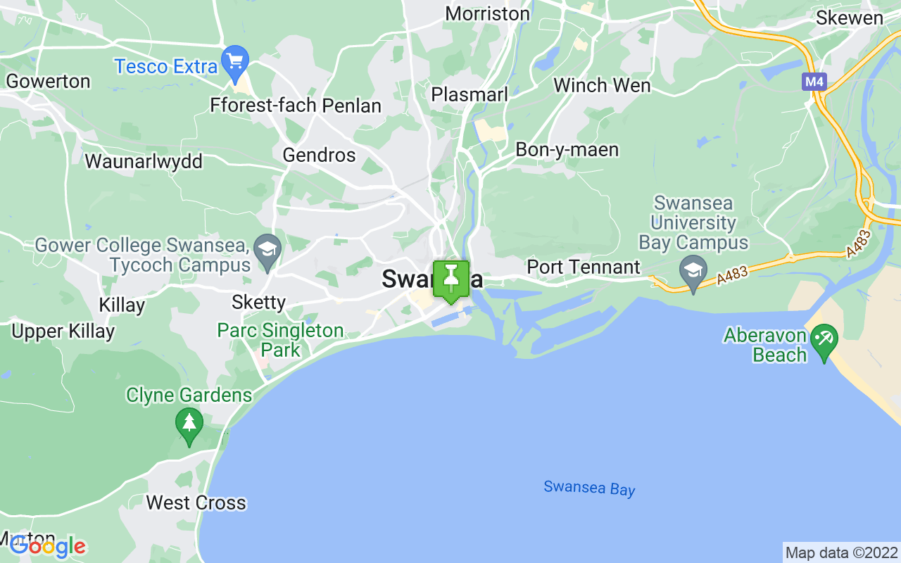 Map showing location of where Swansea prayer times calculated