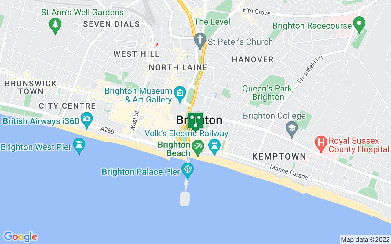 Map showing location of Met Office weather station in Brighton