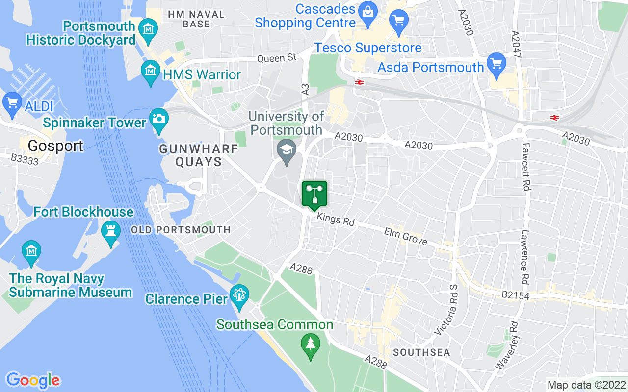 Map showing location of Met Office weather station in Portsmouth