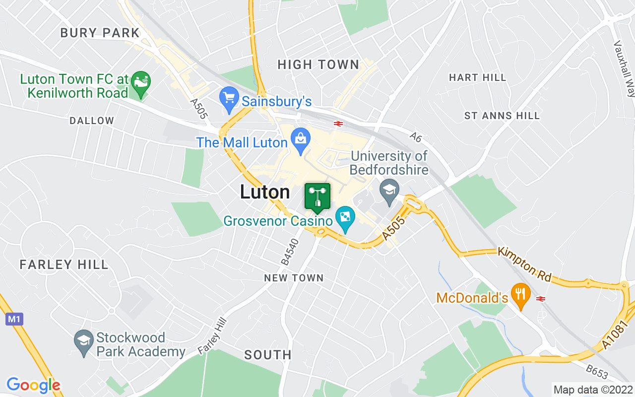 Map showing location of Met Office weather station in Luton
