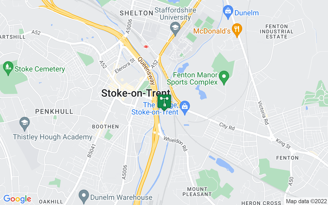 Map showing location of Met Office weather station in Stoke-on-trent