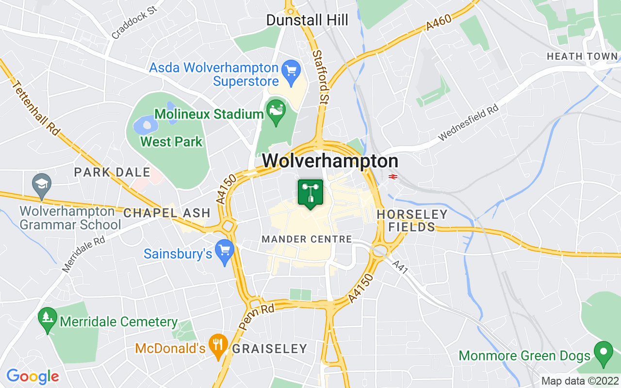 Map showing location of Met Office weather station in Wolverhampton