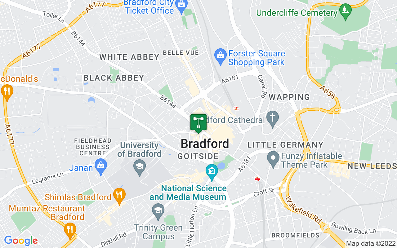 Map showing location of Met Office weather station in Bradford