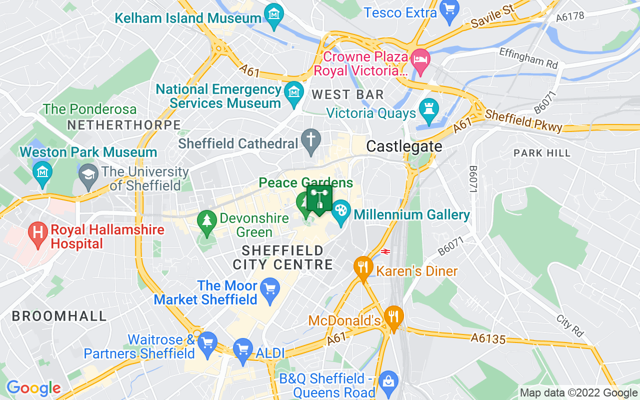 Map showing location of Met Office weather station in Sheffield