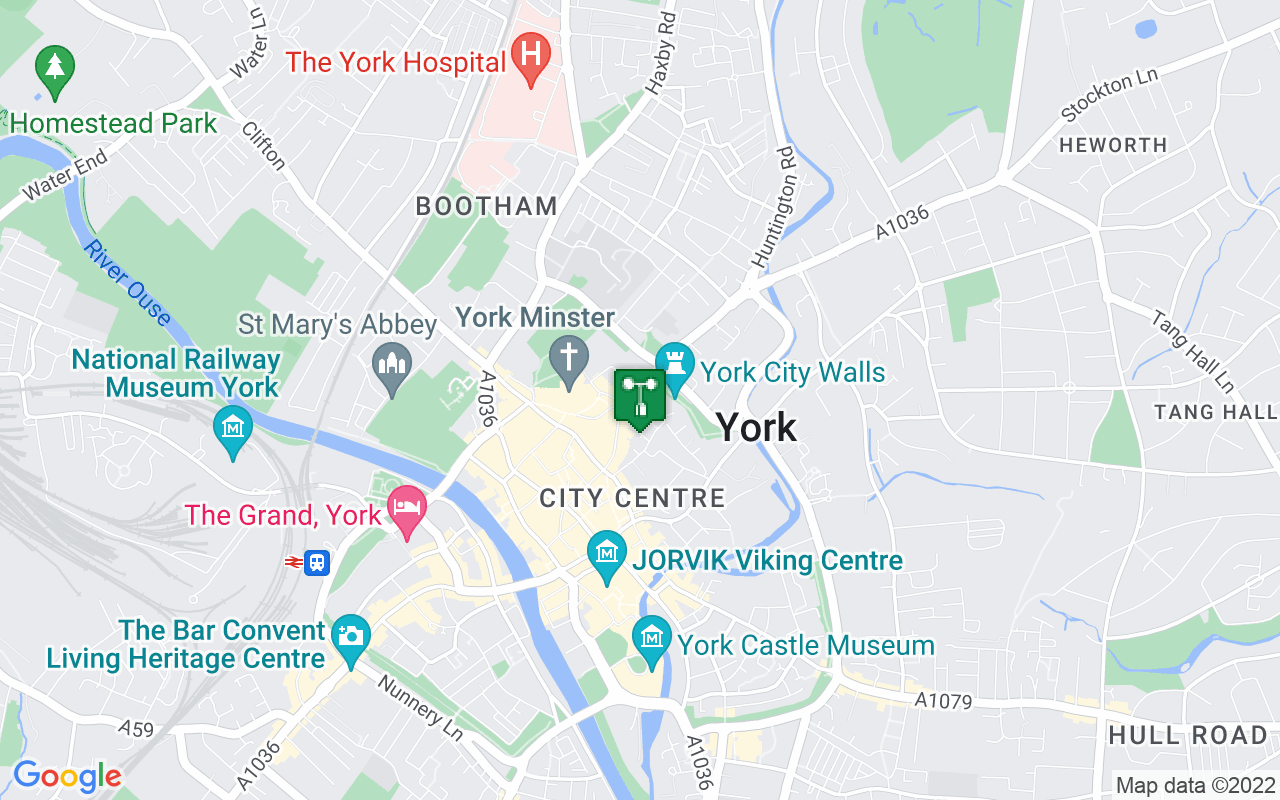 Map showing location of Met Office weather station in York