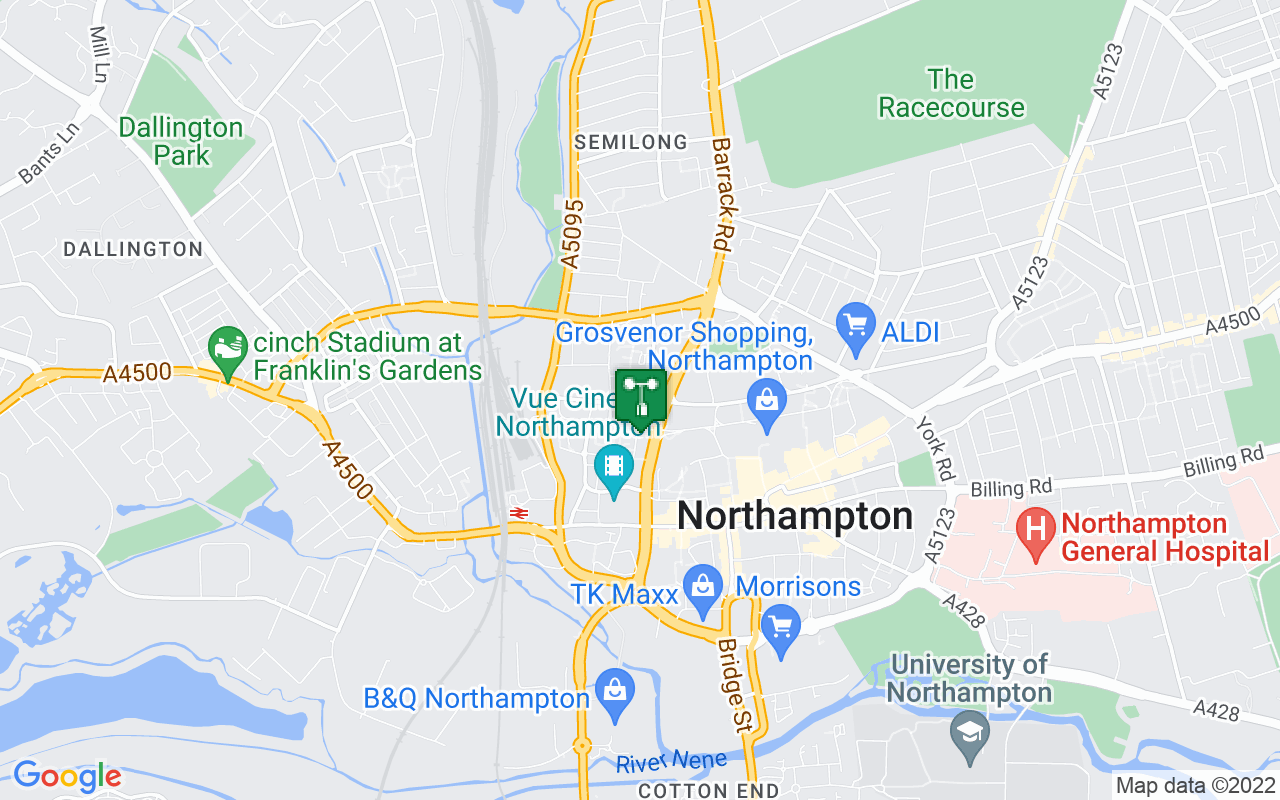 Map showing location of Met Office weather station in Northampton
