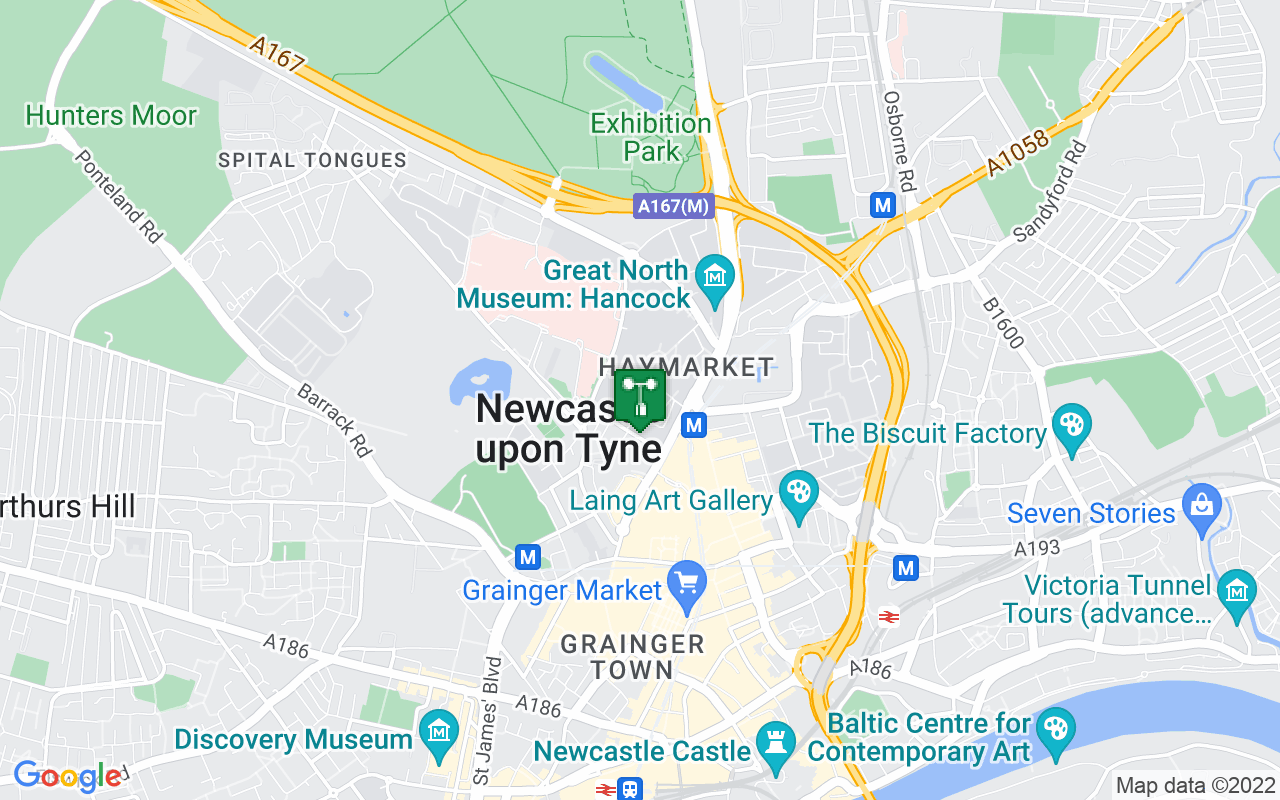 Map showing location of Met Office weather station in Newcastle Upon Tyne