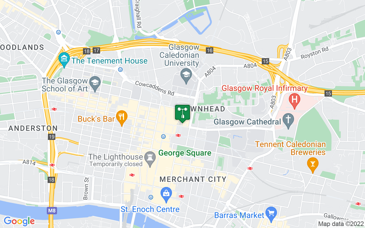 Map showing location of Met Office weather station in Glasgow