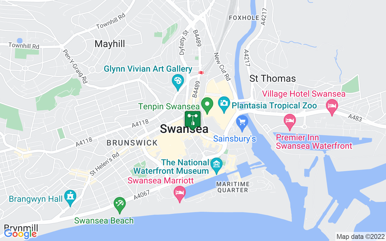 Map showing location of Met Office weather station in Swansea