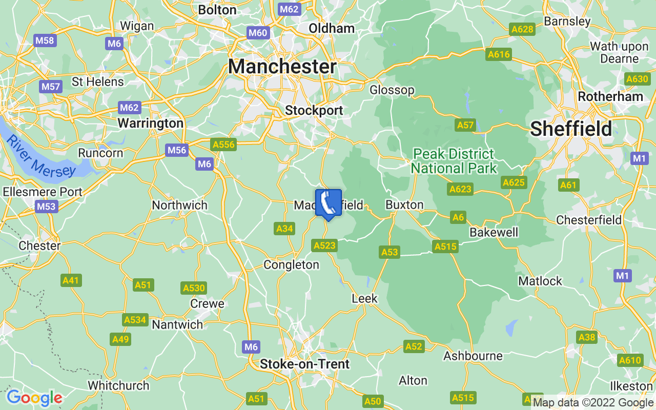 Map showing location of Macclesfield