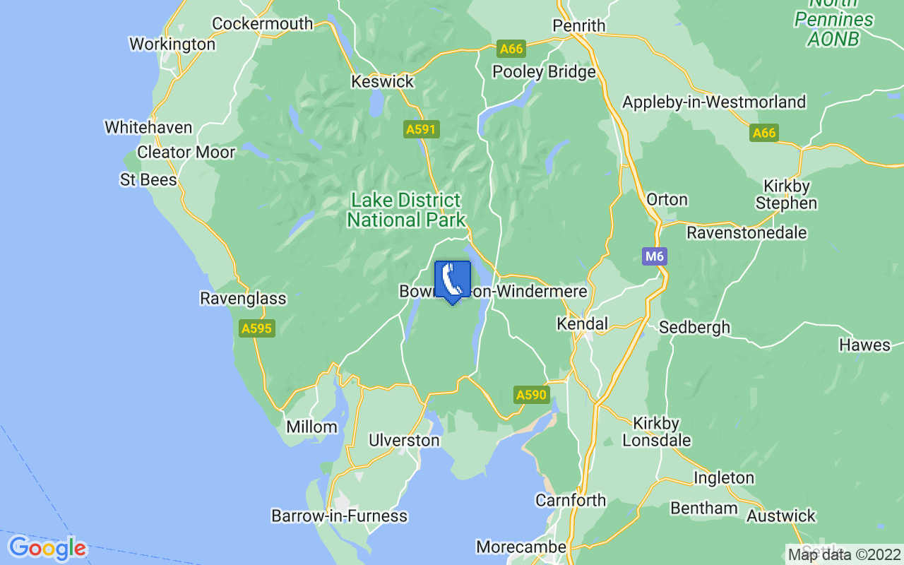 Map showing location of Hawkshead