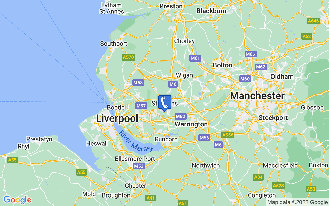 Map showing location of St Helens