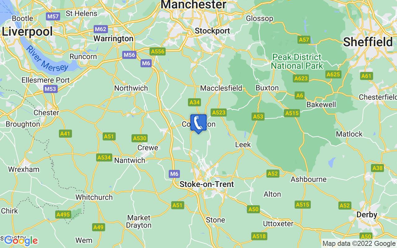 Map showing location of Congleton