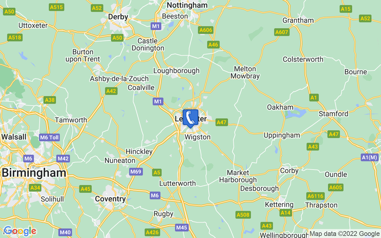 Map showing location of Leicester