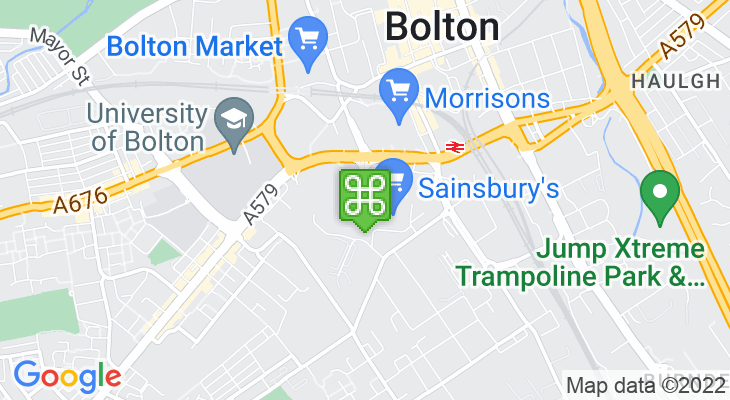 Map showing location of Bolton Shopping Park