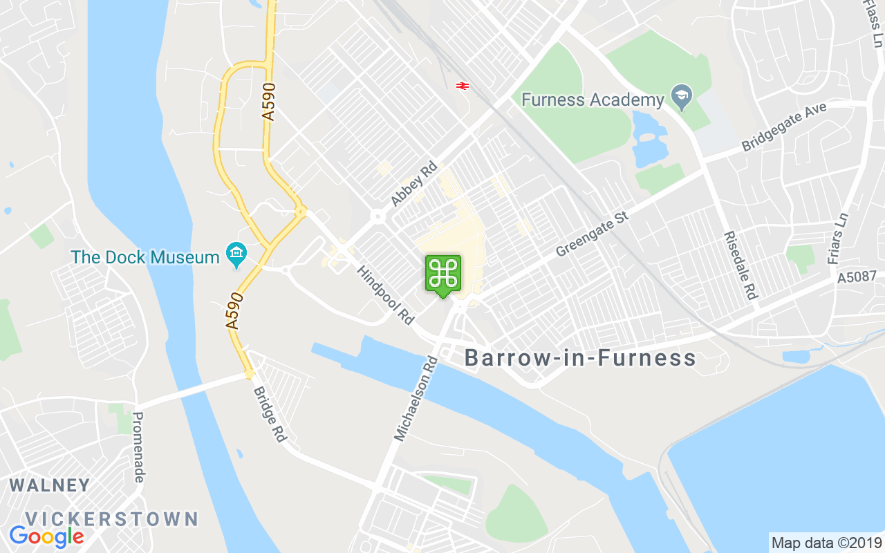 Map showing location of Barrow Tourist Information Centre