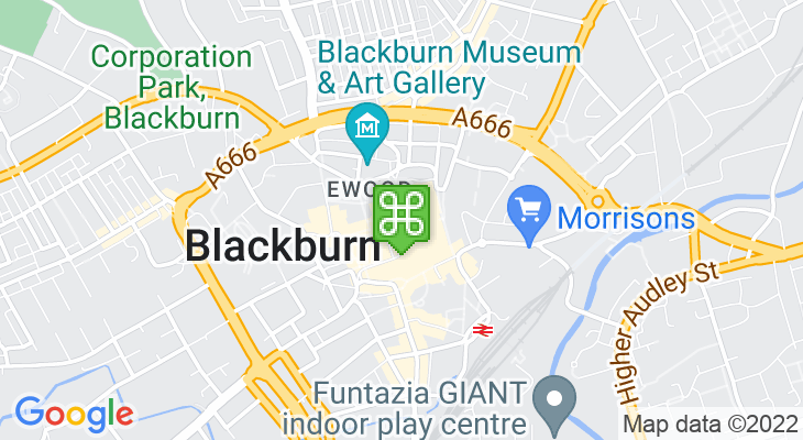 Map showing location of The Mall Blackburn