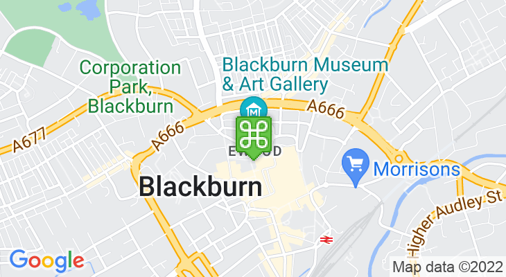 Map showing location of Blackburn Museum and Art Gallery