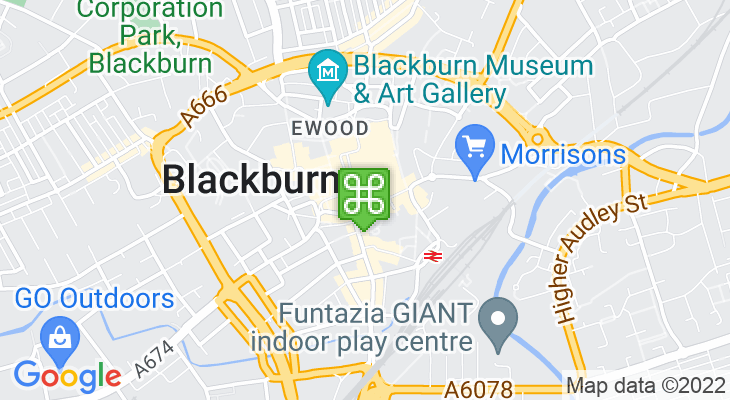 Map showing location of Blackburn Visitor Centre