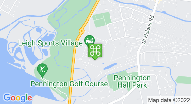 Map showing location of Leigh Sports Village