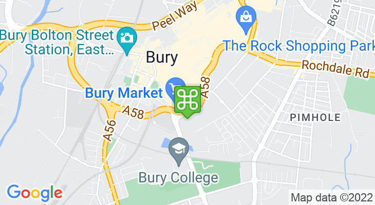Map showing location of Bury Market