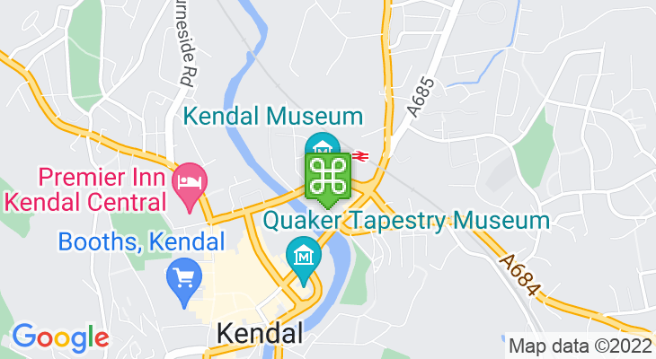 Map showing location of Kendal Museum