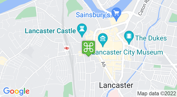 Map showing location of Lancaster Visitor Information Centre