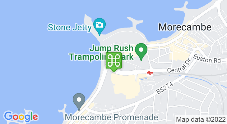 Map showing location of Morecambe Visitor Information Centre