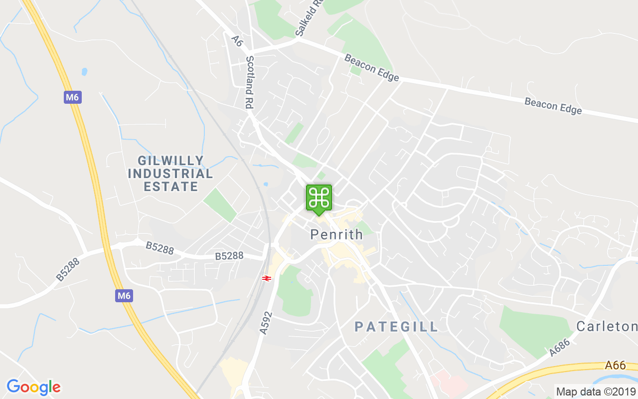 Map showing location of Penrith Tourist Information Centre