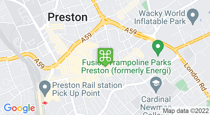 Map showing location of Preston Guild Hall and Charter Theatre