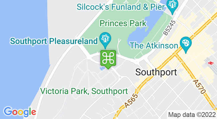 Map showing location of Splash World Southport