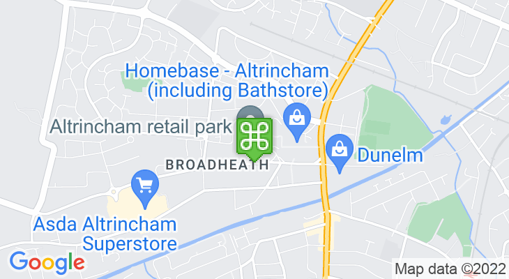 Map showing location of Altrincham Retail Park