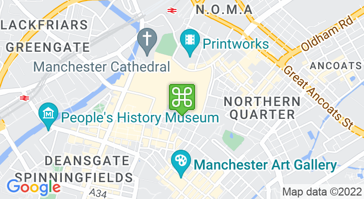 Map showing location of Manchester Arndale
