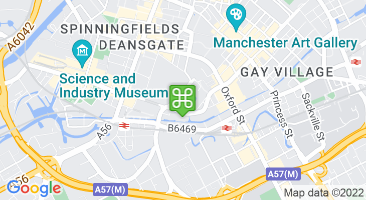 Map showing location of Bridgewater Hall