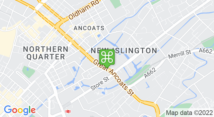 Map showing location of Central Retail Park Manchester