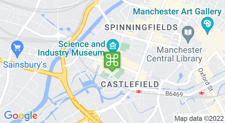Map showing location of MOSI – Museum of Science and Industry