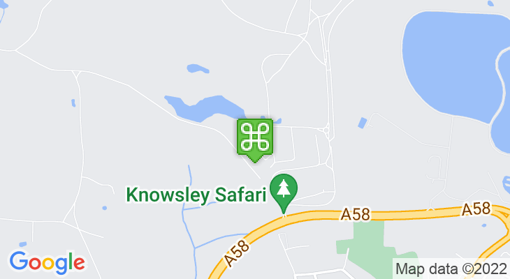 Map showing location of Knowsley Safari Park