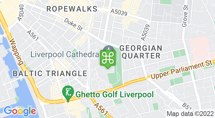 Map showing location of Liverpool Cathedral