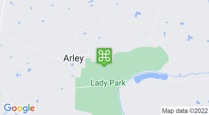 Map showing location of Arley Hall and Gardens