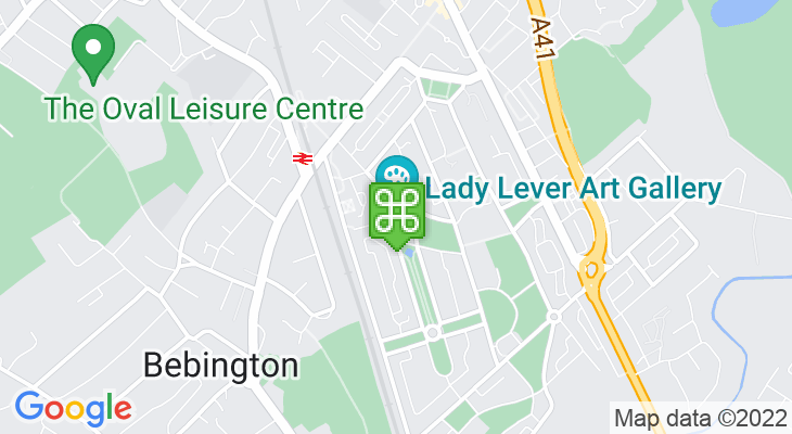 Map showing location of Lady Lever Art Gallery