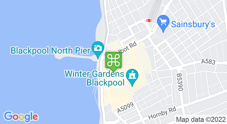Map showing location of Blackpool Tourist Information Centre