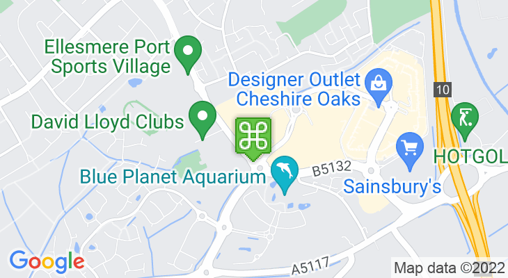 Map showing location of Tenpin Cheshire Oaks