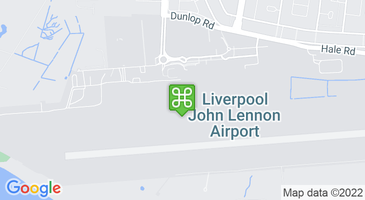 Map showing location of Liverpool John Lennon Airport