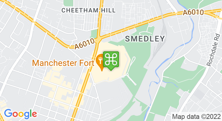 Map showing location of Manchester Fort Shopping Park